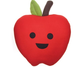 Large Happy Apple Plush Pillow