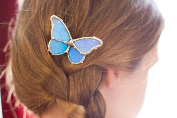 Flower Girl Hair Comb - Real Blue Morpho Butterfly Bridal Hair Comb - MADE to ORDER