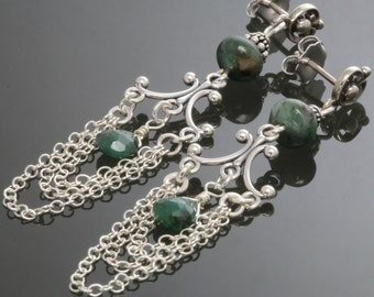 Genuine Emerald Sterling Silver Chandelier Earrings s13e105