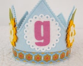 Yellow and Blue Girls Birthday Party Hat - daisy flower birthday party
