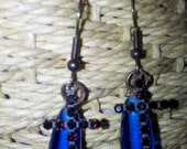 Midnight Prayer Cobalt Blue Glass and Garnet Red Rhinestone Cross Earrings
