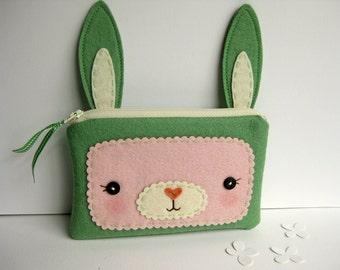 Green Bunny Zipper Pouch