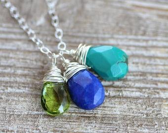Mother's Birthstone Necklace, Children's Birthtones, Custom Gemstones, Sterling Silver Chain, Faceted Briolette Gemstones, Mom Gift