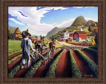 Folk art farm landscape, Farmer Cultivating The Peas rural country americana framed canvas print, farm house decor by Walt Curlee
