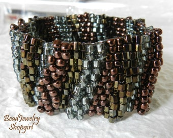 Silver Grey & Bronze Embellished Peyote Cuff Bracelet, Series no. 2