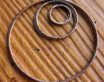 Antiqued Copper Circle Set - 3 prs - 2ea 16mm, 27mm and 56mm Hammered Links
