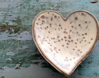 Ceramic Heart Bowl or Ring Dish in White