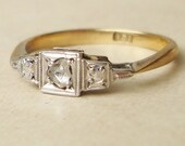 Art Deco Rose Cut Diamond Solitaire Engagement Ring, Vintage 9k Gold Diamond Engagement Ring, Approx. Size US 6