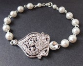 Bridal Bracelet, Swarovski Crystal & Pearl Wedding Bracelet, Victorian Style Bracelet Jewelry, Vintage Style Rhinestone Bracelet, Jacqueline