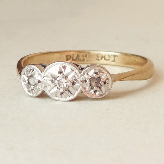 Art deco geometric diamond trilogy engagement ring by for Geometric wedding ring