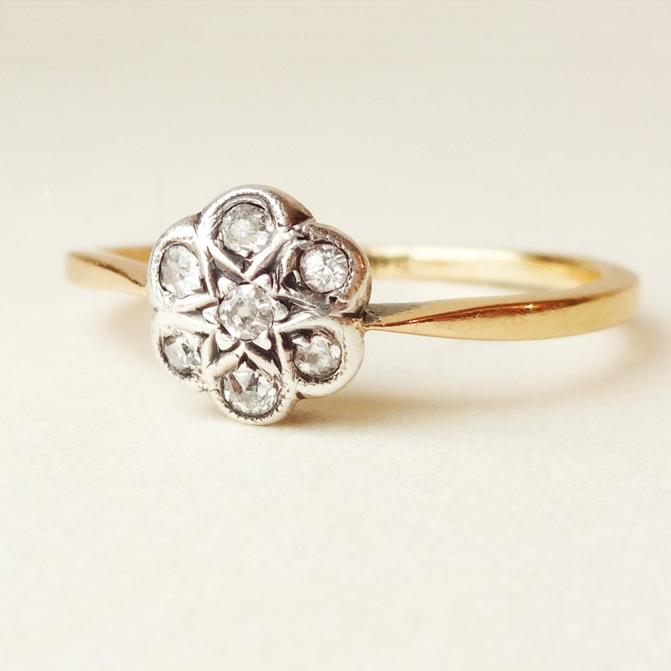 Victorian Diamond Flower Ring Antique 18k Gold by luxedeluxe