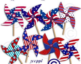 Patriotic Pinwheels Clip Art | Designer Resources | Digital Clip Art Images | PNG Graphics | Digital Scrapbooking Elements | Holiday Clipart