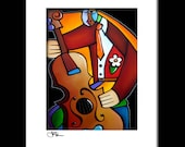 Abstract jazz painting Modern pop Art print Contemporary colorful music decor by Fidostudio