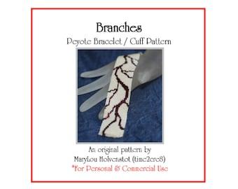 Peyote Pattern ... BRANCHES ... Bracelet Tutorial . Lightning . Fractured . PDF Pattern . Beadweaving . Trees . Veins . Beadwork Pattern