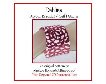 Peyote Bracelet Pattern ... DAHLIAS ... Cuff . Wide . Bold . Floral . Flowers . Pretty . Spring . Modern . Stylish . Stylized . 3 for 2
