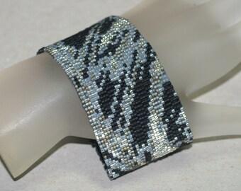 Ebony Fabric ... Peyote Bracelet Beadwoven Cuff Black Carbon Steel Silver Gray Metallic Woman Gift Monochromatic Jewelry Handmade Beadwork