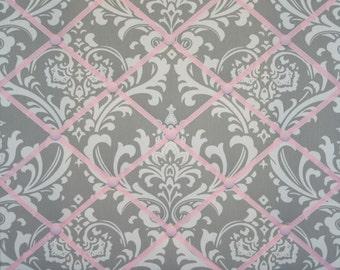 Gray Pink White Damask French Ribbon Memo Board