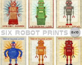 Retro Robot Art Prints- Kid Decor- Set of 6 Robot Prints- Kids Wall Art- Boys Nursery Art- Boys Room- Robot Wall Art Kids Room- Kid Bedroom