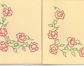 Red Roses Hand Embroidered Greeting Cards