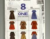 McCalls Children's and Girl's Dress Pattern 8404