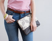 READY TO SHIP Double Wedding Ring Clutch in Charcoal, Hand Printed Canvas, Leather Details