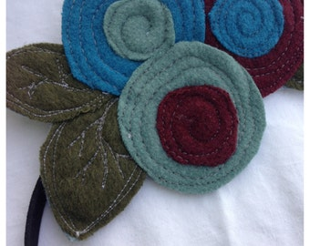 The Little Garden Bloom- Felted Wool Headband or Brooch-Triple Bloom