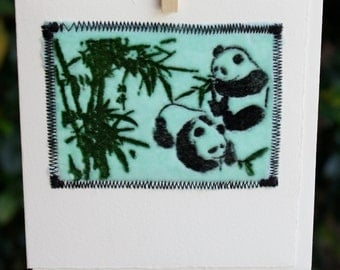 PANDA BEAR Blank Greeting Card Embossed Velvet Stitched