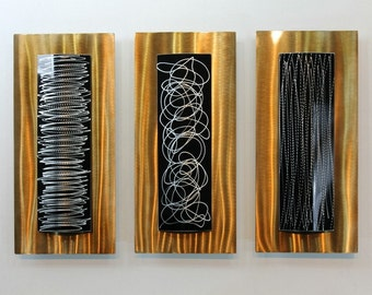 Black & Gold Modern Metal Wall Sculpture - Contemporary Metal Wall Art - Home Decor - Wall Hanging - Accents - Concerto by Jon Allen