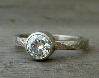 Forever Brilliant Moissanite and Recycled 950 Palladium Alternative Engagement Ring, Hammered, Matte, Made to Order