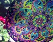 Purple Paisley Mandala Suncatcher - Psychedelic Geometric Design Made From Recycled Materials - Bohemian Home Decor