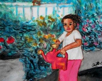 Original Painting, Young Gardener,  Art, Water color, Painting, Fine Art