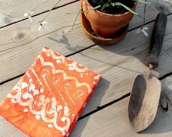 persimmon orange linen towel