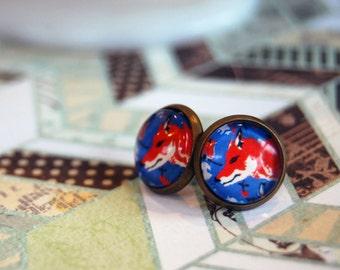 fantastic mister fox framed post earrings- vintage inspired- red fox blue background