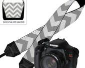 Camera Shoulder Strap for Women  Dslr Camera Strap Slr Chevron Strap Travel Camera Strap Nikon Canon Gray White Padded MTO