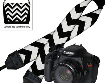 SALE Chevron Camera Neck Shoulder Strap for Women Dslr Padded Camera Strap Slr Padded Strap Travel Camera Strap black white  RTS