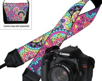 Paisley Camera Neck Shoulder Strap for Women Pink Purple Boho Hippie DSLR Padded Camera Strap Nikon Canon etc blue yellow MTO