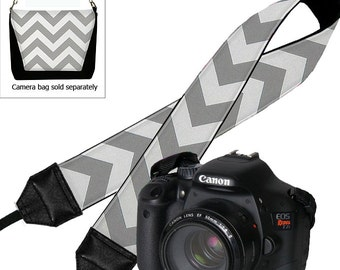 Camera Shoulder Strap for Women  Dslr Camera Strap Slr Chevron Strap Travel Camera Strap Nikon Canon Gray White Padded RTS