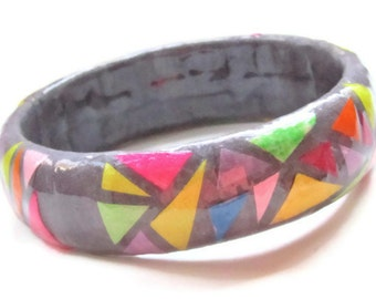 Geometric Paper Mosaic Bangle Bracelet  - Charcoal grey jewelry, modern colorful triangles, neon and pastel shapes - handmade unique collage