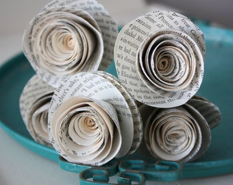 paper rose flowers. repurposed book. recylced book pages.  large set of 5
