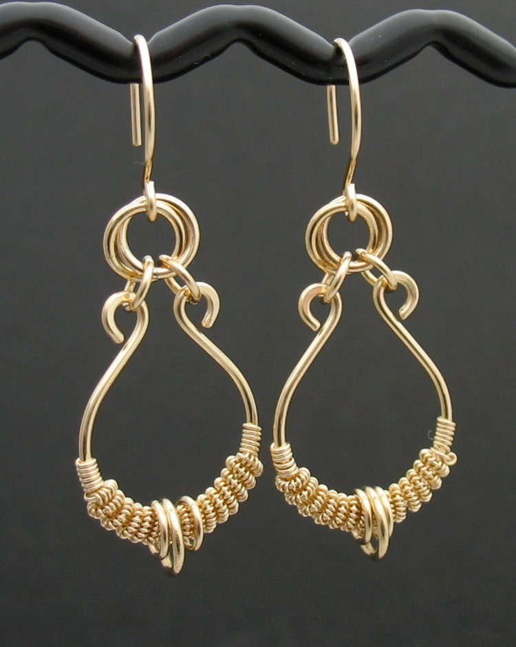 Solid 14k Gold Wire Wrapped Earrings Real Gold By