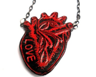 Red and Black Anatomical Heart Necklace  - Love in My Heart Necklace - Valentine's Day Gift