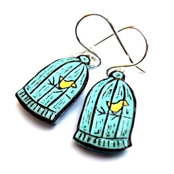 Pastel Blue Bird Cage Earrings, Yellow Bird Dangle Earrings, Caged Bird Drop Earrings, Bird Earrings, Gift for Her, Daughter Gift, Mom Gift