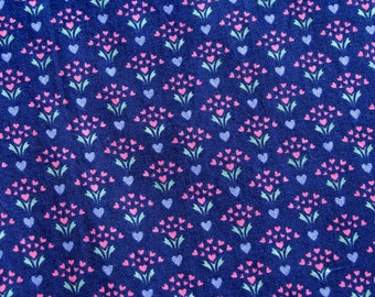 Vintage Fabric Cotton Print Tiny Flowers 2 Plus Yards Navy Blue