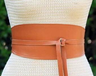REVERSIBLE Warm Camel Brown Leather obi wrap sash caramel lambskin - XS S M L XL Plus & Petite Size - wide cinch belt - custom fabric print