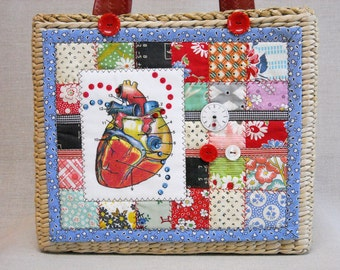 Seagrass Basket Handbag - Feedsack Postage Stamp Quilt - Beating Heart