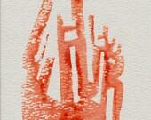 Unique Abstract Postcard Prints --'Series V' -- Lino Cut