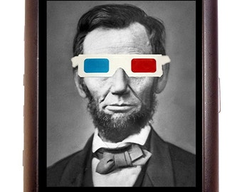 Abraham Lincoln With 3D Glasses Cigarette Case Business Card Case wallet