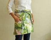 Waterproof apron - green apron spring pink flowers half apron laminated cotton forest green floral bouquet chef cooking kitchen