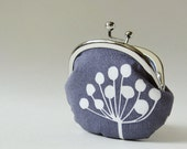 coin purse - white flower on gray