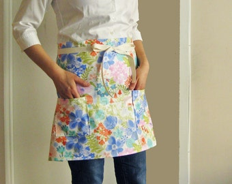 Laminated apron - spring meadow half apron flowers floral blue pink orange green May flowers kitchen cooking mother's day gift